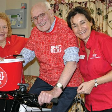 John, 87, sets wheels in motion for Sport Relief