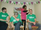 Rachel Graves, Activity Organiser and Hairdresser at Wellington Grange, shaves Will Barber, having completed Carmen Flueras to laughter all round. Looking on and next in line for the clippers is Richard Upshall.