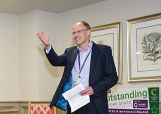 WELL DONE: Chief exec Mark Aitchison thanks staff for all their hard work and care