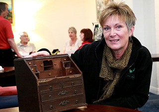 Valuable find: Linda Thornton with her 18th century bureau bookcase