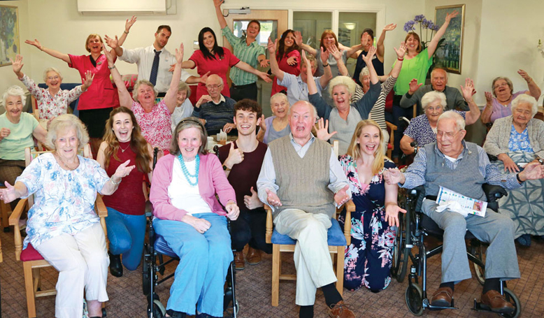 PRIVATE VIEW. Cast members from Half A Sixpence with residents, relatives, friends and staff at Wellington Grange.