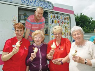 Chilled out: Fernhill residents Marjorie Lee (second left) and Margaret Johnson (right) with Activities Organiser Anne Marie-Knight (left), Colten Companion Heather Almond and Gavin Coppard of Jim's Superwhip.