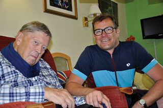 LONG-DISTANCE VISITOR: Peter Matchan, left, in his room at Fernill with Nicolas Guenther.