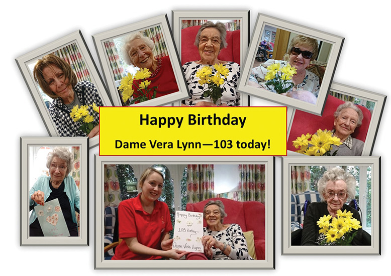 Some of the images inside the card made by Canford Chase for Dame Vera Lynn.