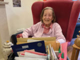 Hilary with some of her many cards which had to be delivered in batches