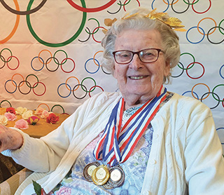 The Aldbury's 'queen of competitions' Connie Davis with some of her medals