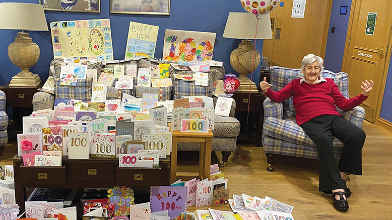 100-year-old Helen Lefroy with some of her 788 cards.