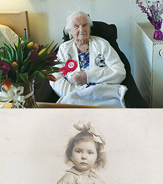 Mabel Looker on her 106th birthday at Belmore Lodge, and as a young girl.