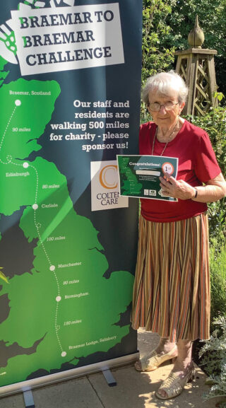 PERSONAL BEST: Braemar Lodge resident Kay Callow achieved the most individual miles among the residents taking part in the Braemar-to-Braemar challenge.